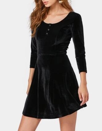 dress black dress girly black velvet skater dress