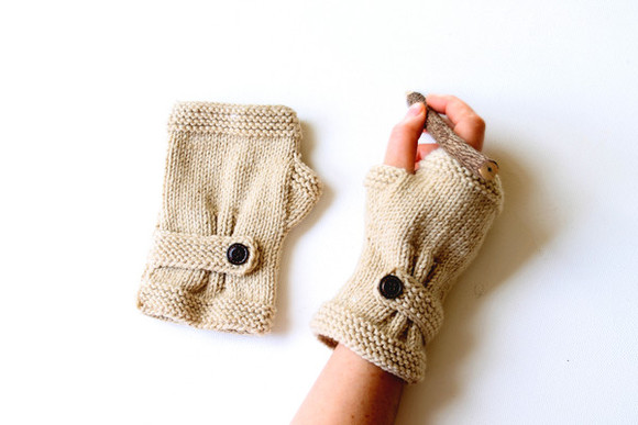 gift girl women hat gloves fingerless handmade accessoires knit knitting crochet camel beige dark beige button wool yarn dreams desing original school hand brown woman christmas costume winter hot etsy etsy sale sale fall autumn spring arm warmer arm mitten
