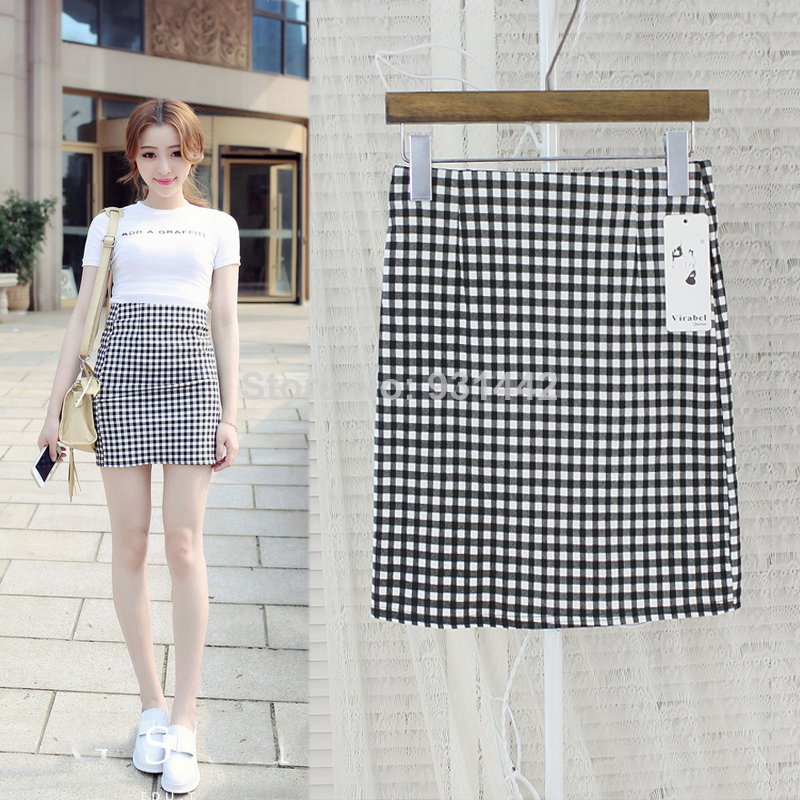 2014 sexy tight plaid skirts ice cream candy color cotton high waist slim hip short skirt-inSkirts from Apparel & Accessories on Aliexpress.com
