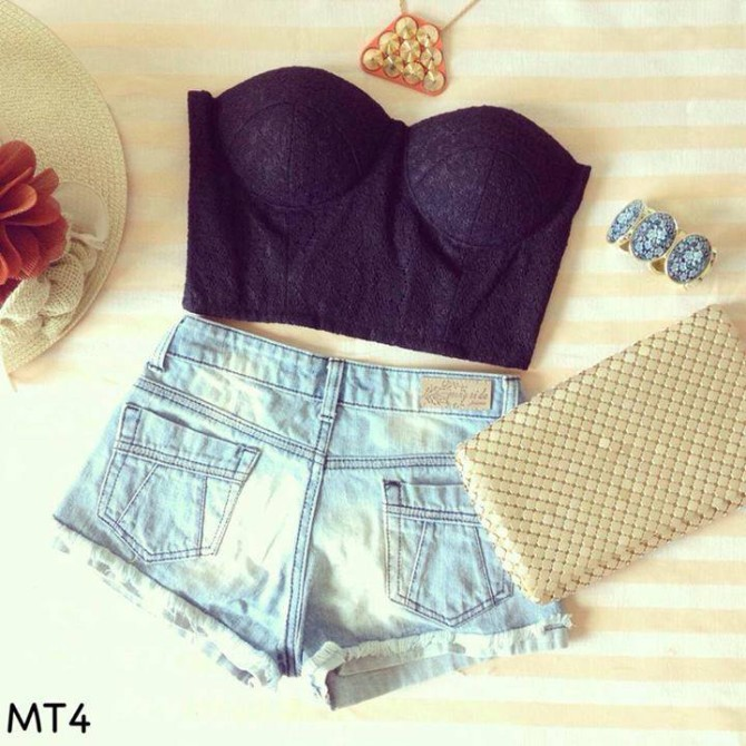 Black lace midriff top