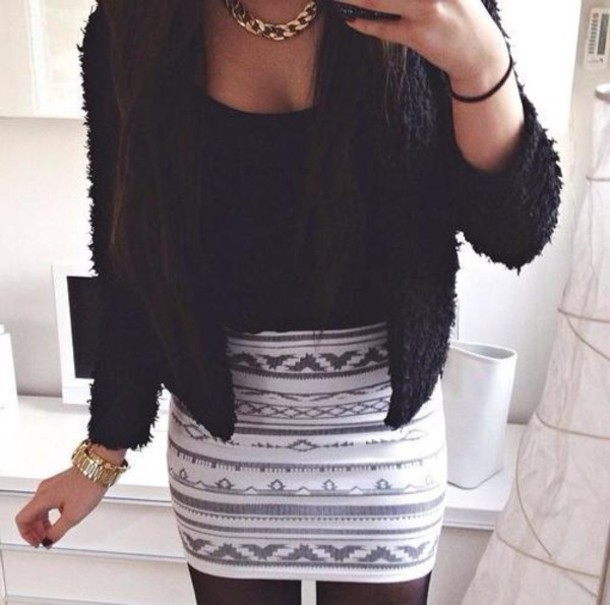 Black And White Patterned Skirt
