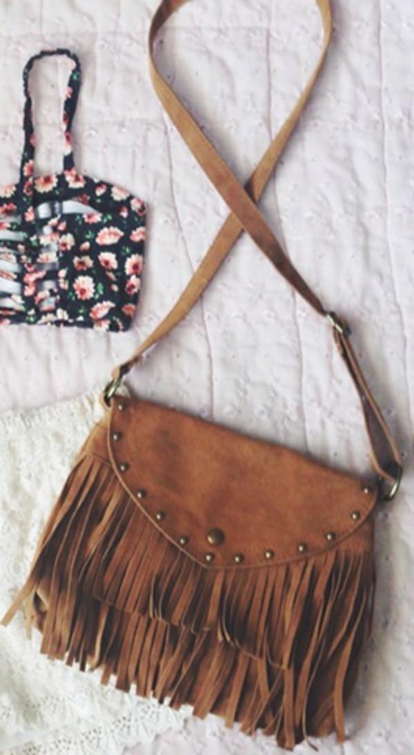 bag shoulder bag western brown bag brown shoulder bag fringed bag