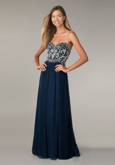 2014 Navy Blue Jeweled Top Strapless Long Prom Dress [Navy Long Prom Dress] - $168.00 : Hot Sale Prom Dresses & Homecoming Dresses For Cheap
