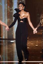 jumpsuit,black,pants,asymmetrical,bustier,nicole scherzinger