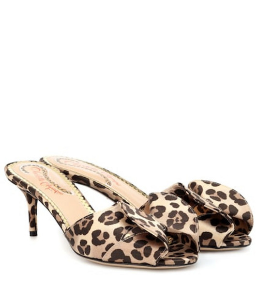 Charlotte Olympia Satin leopard-printed mules in brown