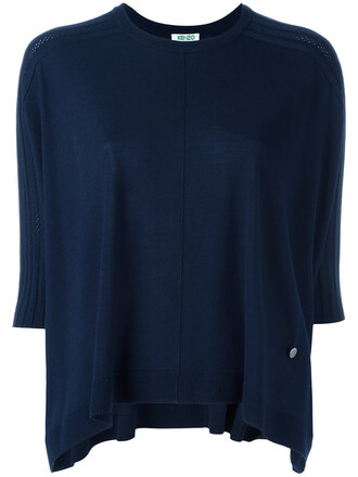 top knitted top oversized women blue wool