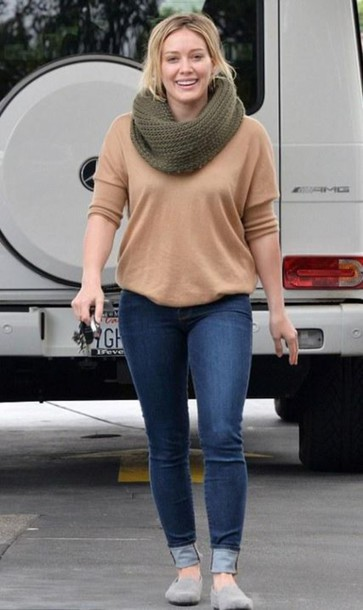 Sweater Infinity Scarf Scarf Denim Espadrilles Flats Fall Outfits Hilary Duff Camel