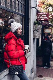 jacket,tumblr,red jacket,puffer jacket,beanie,pom pom beanie,bag,black bag,chain bag,jeans,grey jeans,winter coat,winter outfits,viva luxury