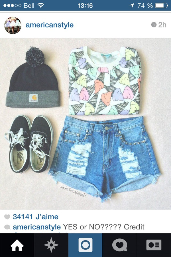 shorts t-shirt shoes ice cream