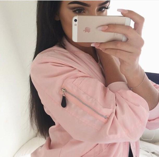 ab4a1ba4b90 jacket light pink vue boutique blush bomber pink jacket bomber jacket  bomber jacket baby pink pink