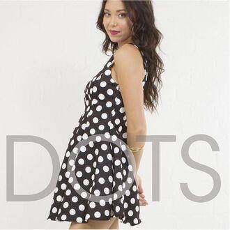 dress angl polka dots dot black and white black white love style vintage bnw skater dress inspired cute girly clean formal black dress