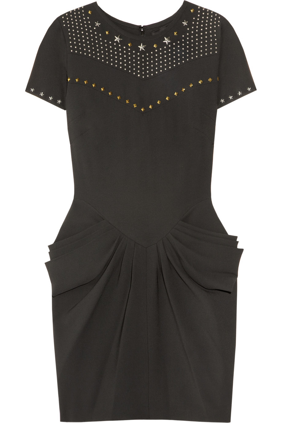 Embellished crepe mini dress