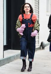 jeans,nyfw 2017,fashion week 2017,fashion week,streetstyle,overalls,dungarees,denim overalls,boots,brown boots,ankle boots,tights,opaque tights,sweater,red sweater,jacket,grey jacket,bomber jacket,khaki bomber jacket,gloves,knitted gloves,00s style