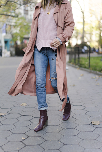 coat tumblr pink coat duster coat sweater pink sweater denim jeans blue jeans cropped jeans boots ankle boots high heels boots burgundy ripped jeans
