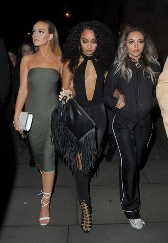 dress strapless bodycon dress midi dress little mix leigh-anne pinnock jade thirlwall perrie edwards sandals clutch khaki shoes bag