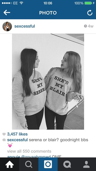 sweater gossip girl serena van der woodsen blair bestfriends black white