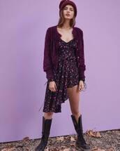 cardigan,purple cardigan,dress,black dress,sweater