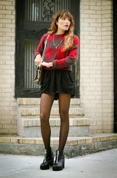 the marcy stop,blogger,tights,bag,jewels,jumper,fall outfits,sweater,shorts,shoes