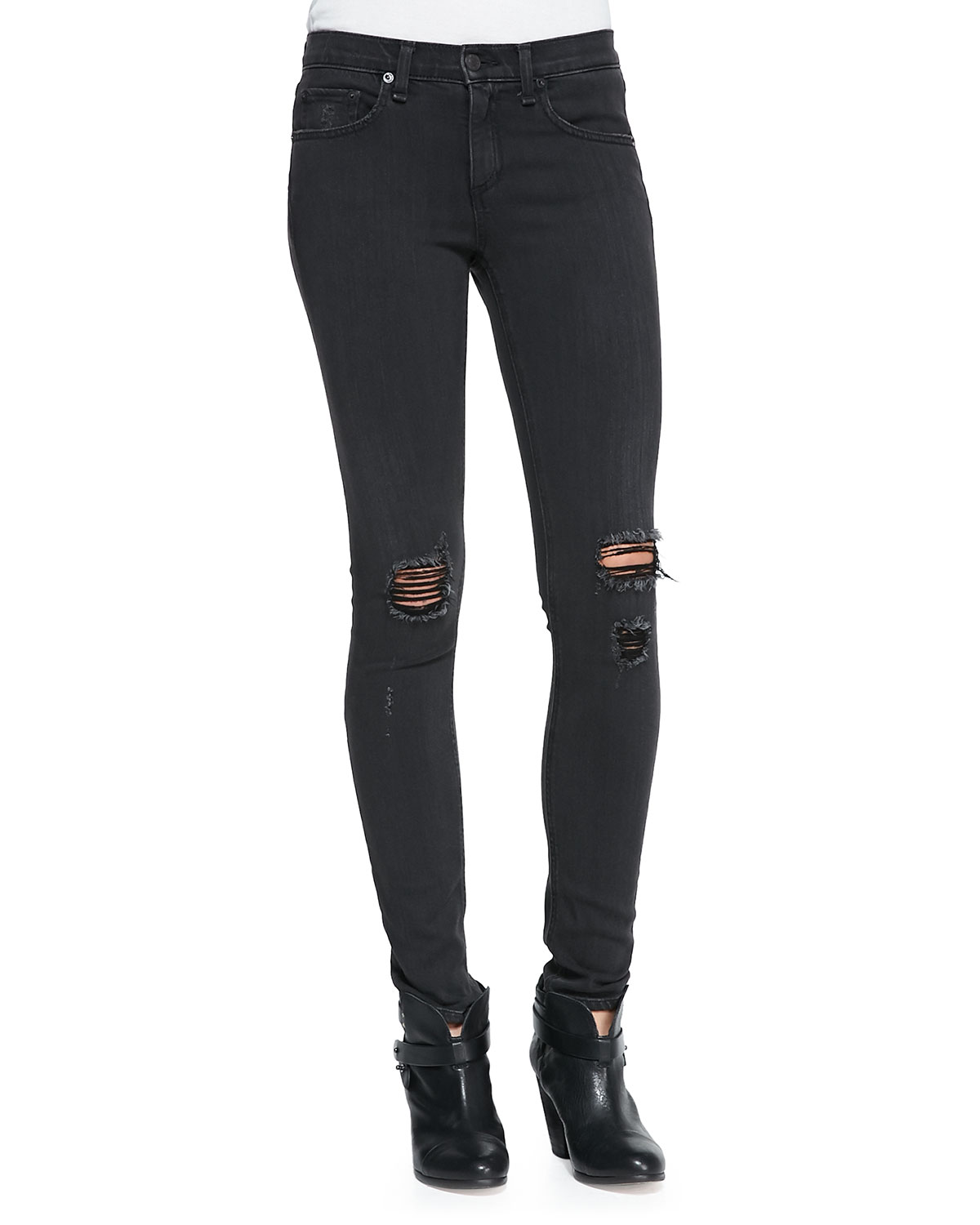 The classic tee & the skinny distressed denim jeans
