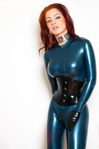 jumpsuit blue tight fetish jewels silver collar belt corset back lace