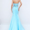 Halter low back lace bodice long light blue two-piece prom dress