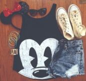 skirt,shirt,top,shorts,chuck taylor all stars,converse,white,mickey mouse,headband,jewelry,sunglasses,bow,minnie mouse,hat,tank top,disney,blouse,cute top,black top,mickey mouse tee,black crop top