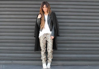 madame rosa blogger snake print pants leather jacket black coat coat jacket pants t-shirt shoes