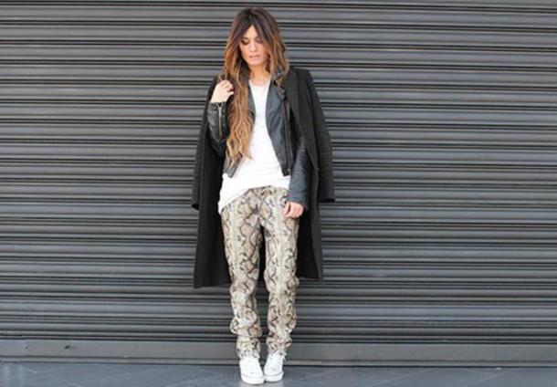 madame rosa blogger snake print pants leather jacket black coat coat jacket pants t-shirt shoes