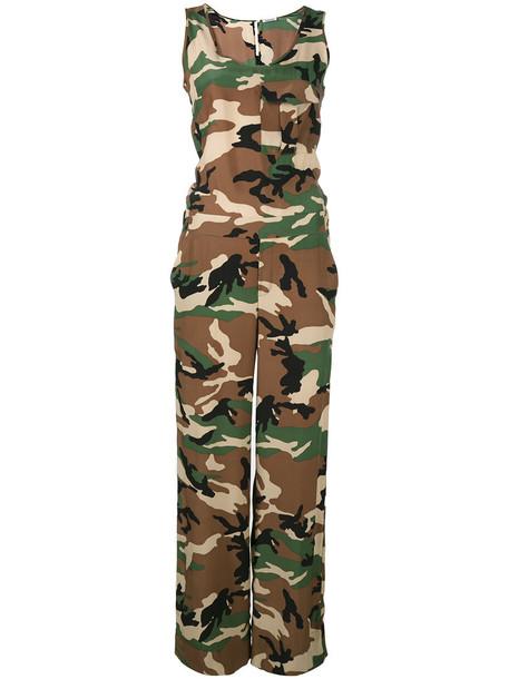 jumpsuit women camouflage silk brown