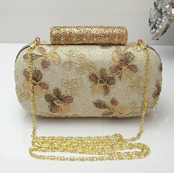 3bb625879f56 bag handbag handbag evening bag gold handband gold lace floral handbag  bridal clutch wedding accessories prom