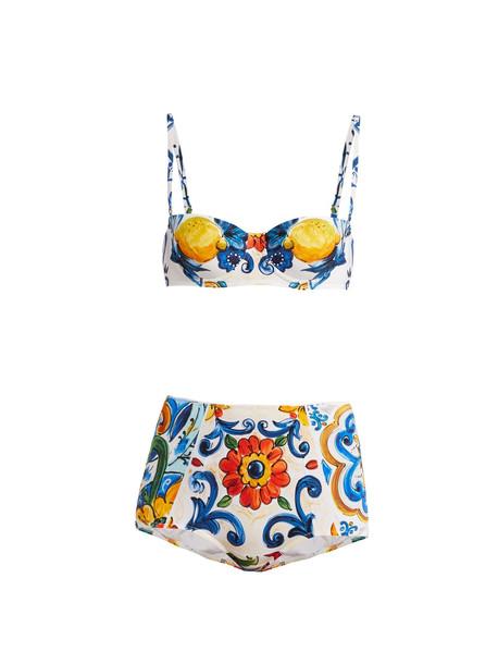 bikini print blue swimwear