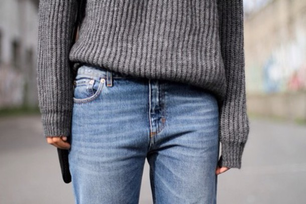 grey sweater grey jeans style fashion sweet cute stripes christmas sweater outfit knitwear knitted sweater long sleeves boyfriend jeans boyfriend sweater boyish unisex sweater french girl style