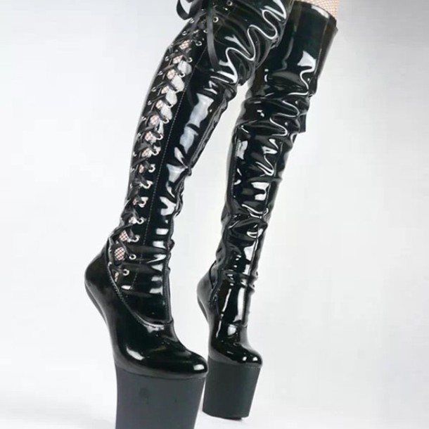 Latex high heel boots