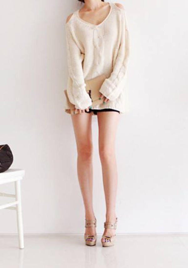 sweater white dress shoulder detail