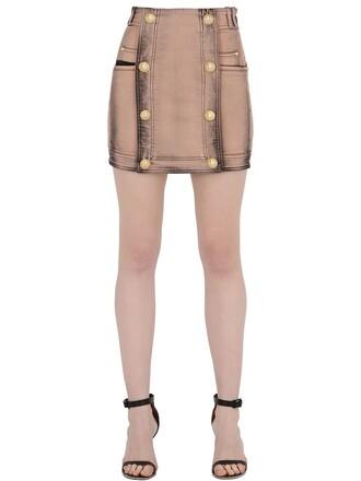 skirt mini skirt denim mini cotton pink grey