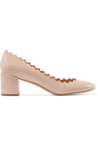 Chloe scalloped pumps leather cream shoes