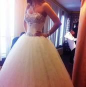 dress,wedding dress,beautiful,dream,white dress,bridal gown,maxi dress,sparkle,jewels,white,princess,princess wedding dresses,white prom dress/ wedding dress tool bottom,cinderella,prom dress,prom,bride,bling,blingy wedding dress,princess dress,princess wedding dress,white wedding dress,white gown,long wedding dresses,long wedding dress,bling wedding dress,tulle skirt,corset top,glitter,corset,wedding