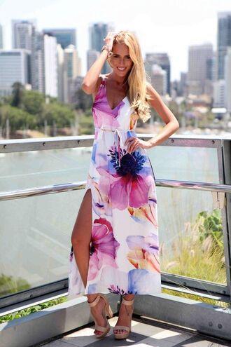 v neck ustrendy floral printed maxi dress sun dress