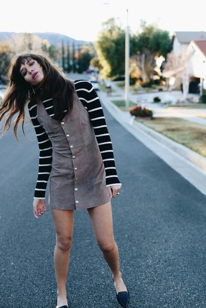 85601de76b natalie off duty blogger loafers suede dress button up shift dress striped  sweater striped turtleneck sweater