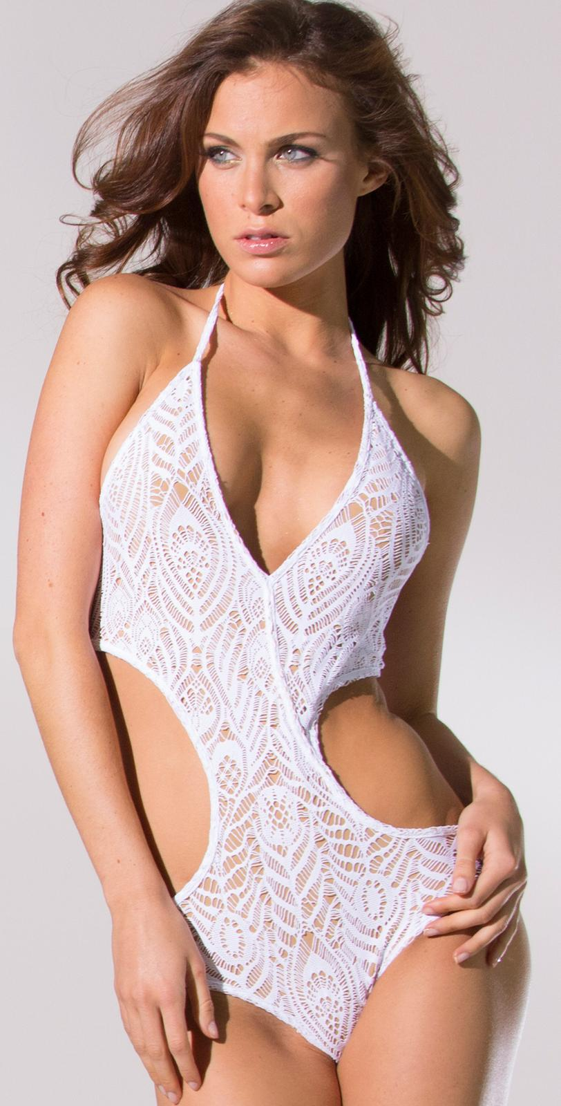 Inca 2014 Olivia White Crochet Cut Out Swimsuit | South Beach Swimsuits