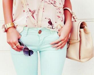 jeans green blue shirt t-shirt birds beige glasses heart ring gold ring bag white beautiful beautiful bags blouse sunglasses