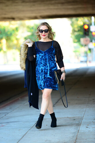 thehuntercollector blogger dress top shoes bag jewels dress over t-shirt ankle boots velvet dress