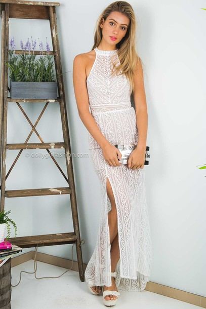 7dbd37d2166 dress dolly girl fashion formal dress long dress formal wedding bridesmaid  white lace lace lace dress