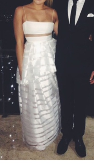 dress white two-piece formal dress
