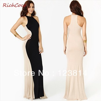 New 2013 Sexy Fashion Women Long Dresses Patchwork Sleeveless O Neck Slim Floor Length Long One Piece Dress Free Shipping D210-in Dresses from Apparel & Accessories on Aliexpress.com