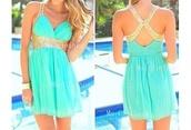 turquoise dress,turquoise,chiffon,short,mini,straps,criss cross dress,open back dresses,homecoming dress,prom,evening dress