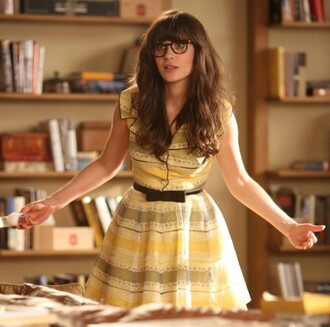 dress jess day zooey deschanel new girl vintage yellow black dress celebrity actress yellow dress a line dress nerd glasses glasses belted dress jessica day