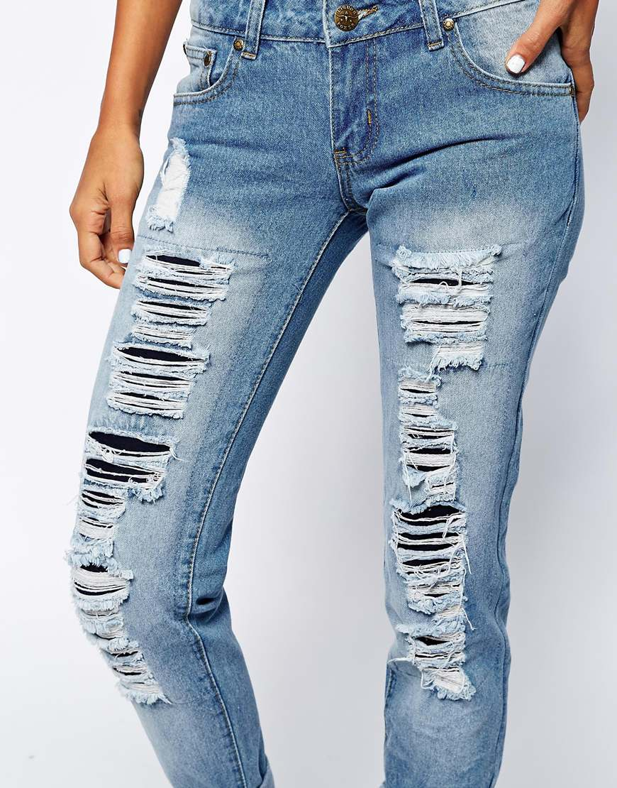 Liquor & Poker Boyfriend Jeans With All Over Distressing at asos.com