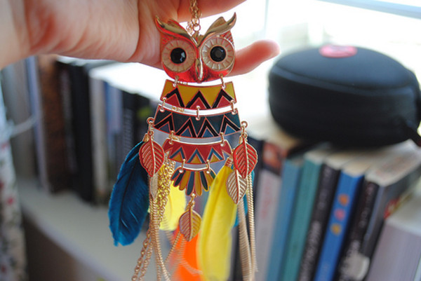 jewels owl necklace jewelry colorful