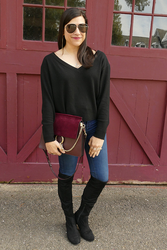 closetfashionista blogger sweater jeans shoes bag jewels black sweater boots